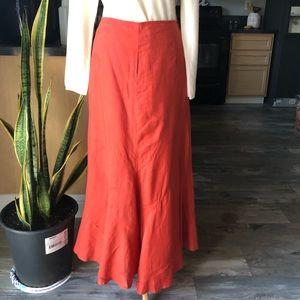 Carole Little burnt orange/rust linen skirt